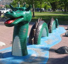 Ogopogo statue in downtown Kelowna